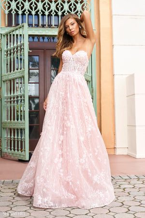 Sherri Hill 54305 prom dress images.  Sherri Hill 54305 is available in these colors: Blush, Light Blue, Ivory.