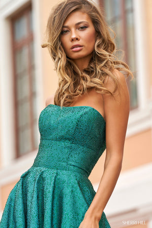 Sherri Hill 54325 prom dress images.  Sherri Hill 54325 is available in these colors: Red, Emerald, Royal, Black, Light Blue.