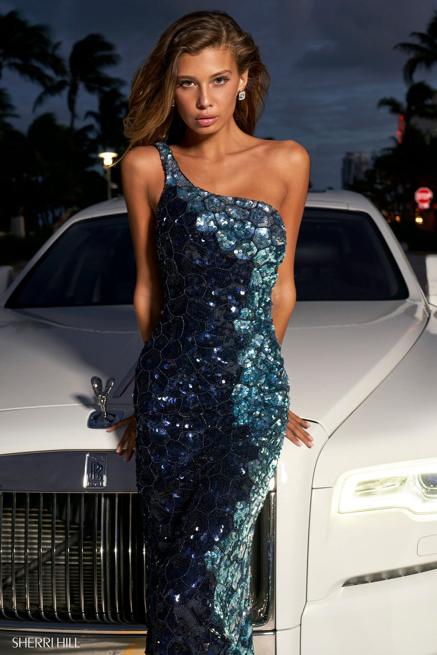Sherri Hill 54331 prom dress images.  Sherri Hill 54331 is available in these colors: Periwinkle Lilac, Navy Light Blue.