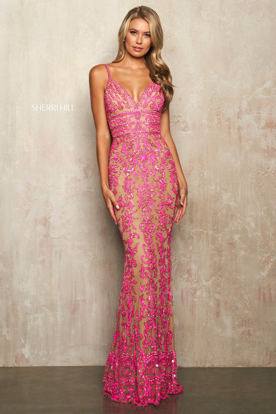 Sherri Hill 54376 prom dress images.  Sherri Hill 54376 is available in these colors: Neon Pink, Neon Orange, Candy Pink.