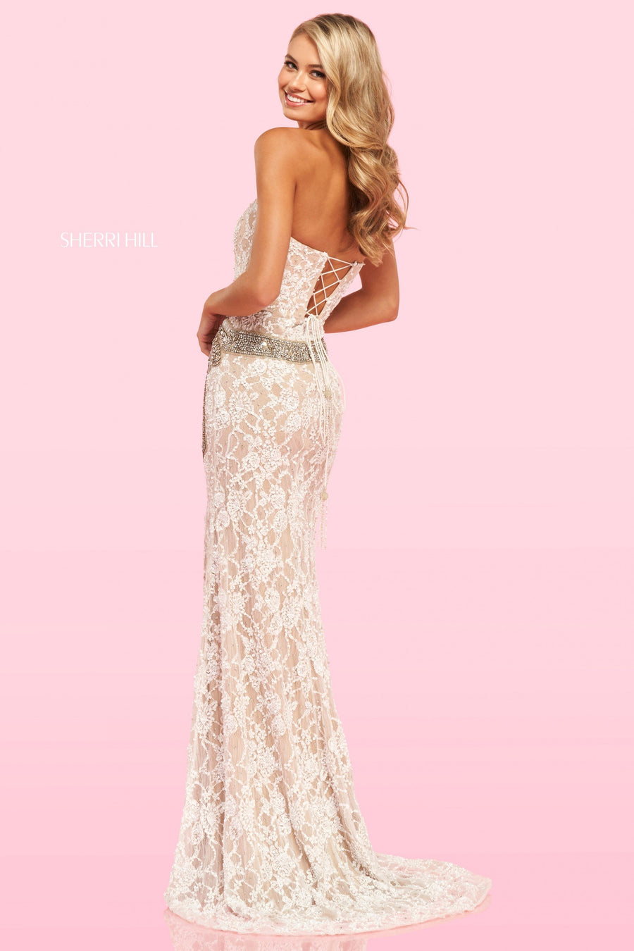 Sherri Hill 54387 prom dress images.  Sherri Hill 54387 is available in these colors: Ivory Silver Gold Nude.
