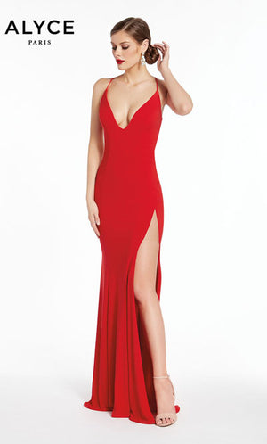 Alyce Paris 1377 prom dress images.  Alyce Paris 1377 is available in these colors: Red,  Black.