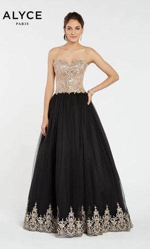 Alyce Paris 1402 prom dress images.  Alyce Paris 1402 is available in these colors: Black Gold.
