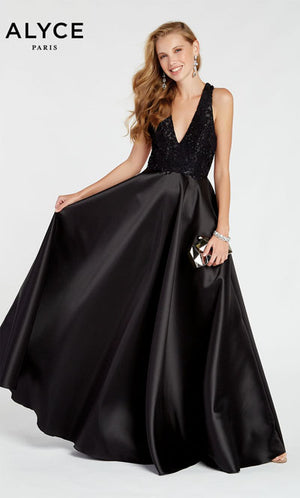 Alyce Paris 1411 prom dress images.  Alyce Paris 1411 is available in these colors: Black.