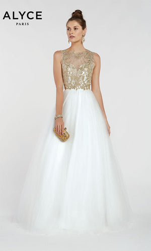 Alyce Paris 1414 prom dress images.  Alyce Paris 1414 is available in these colors: Ivory Gold.