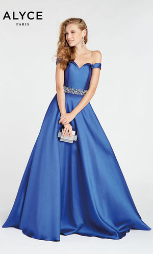 Alyce Paris 1419 prom dress images.  Alyce Paris 1419 is available in these colors: Emerald,  Sapphire,  Red.
