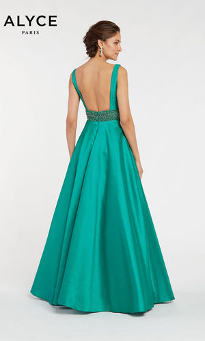 Alyce Paris 1420 prom dress images.  Alyce Paris 1420 is available in these colors: Red,  Lucky Charm Green,  Royal,  Diamond White.