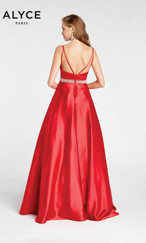 Alyce Paris 1423 prom dress images.  Alyce Paris 1423 is available in these colors: Red,  Royal,  Emerald,  Diamond White.