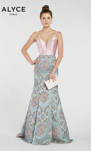 Alyce Paris 1438 prom dress images.  Alyce Paris 1438 is available in these colors: Ivory Antique Blue,  Pink Antique Blue.