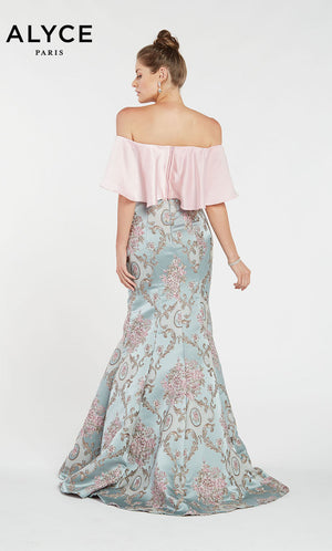 Alyce Paris 1439 prom dress images.  Alyce Paris 1439 is available in these colors: Ivory Antique Blue,  Pink Antique Blue.