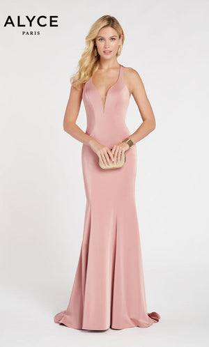 Alyce Paris 60281 prom dress images.  Alyce Paris 60281 is available in these colors: Antique Rose,  Deep Water,  Black.