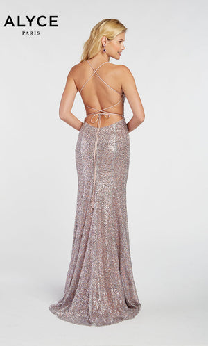 Alyce Paris 60304 prom dress images.  Alyce Paris 60304 is available in these colors: Black,  Eggplant,  Soft Heather.