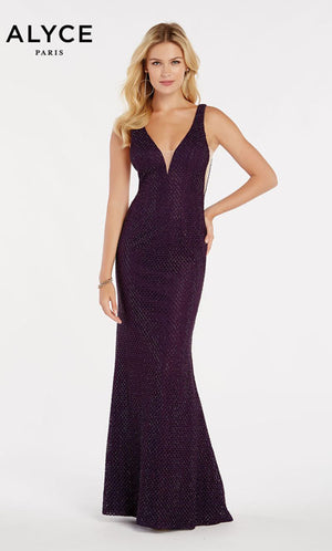 Alyce Paris 60314 prom dress images.  Alyce Paris 60314 is available in these colors: Black,  Eggplant,  Periwinkle,  Red.