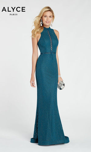 Alyce Paris 60318 prom dress images.  Alyce Paris 60318 is available in these colors: Peacock,  Red,  Heather.