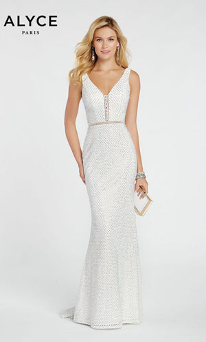 Alyce Paris 60319 prom dress images.  Alyce Paris 60319 is available in these colors: Red,  Diamond White,  Black.
