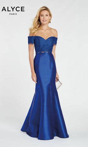 Alyce Paris 60328 prom dress images.  Alyce Paris 60328 is available in these colors: Black Malibu,  Sapphire,  Red.