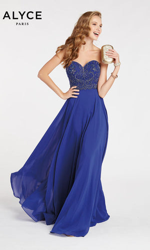 Alyce Paris 60352 prom dress images.  Alyce Paris 60352 is available in these colors: Cobalight,  Red Solid,  Mauve Silver.