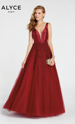 Alyce Paris 60357 prom dress images.  Alyce Paris 60357 is available in these colors: Wine,  Diamond White,  Blush.