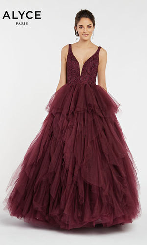 Alyce Paris 60358 prom dress images.  Alyce Paris 60358 is available in these colors: Black Cherry.