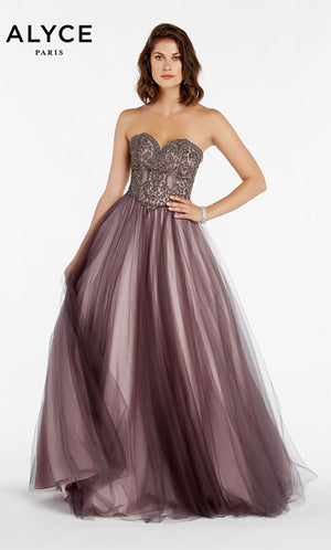 Alyce Paris 60360 prom dress images.  Alyce Paris 60360 is available in these colors: Cashmere Rose, Stone Cold Charcoal , Hollywood Burgundy Pink Lining.