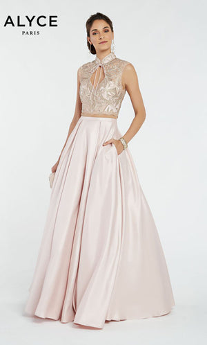 Alyce Paris 60369 prom dress images.  Alyce Paris 60369 is available in these colors: French Pink,  Midnight.