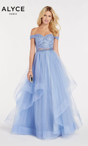 Alyce Paris 60373 prom dress images.  Alyce Paris 60373 is available in these colors: Blue Iris,  Cerise,  Cobalight,  Rosewater.