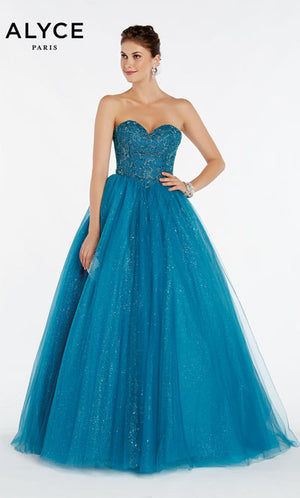 Alyce Paris 60381 prom dress images.  Alyce Paris 60381 is available in these colors: Aubergine,  Deep Water.