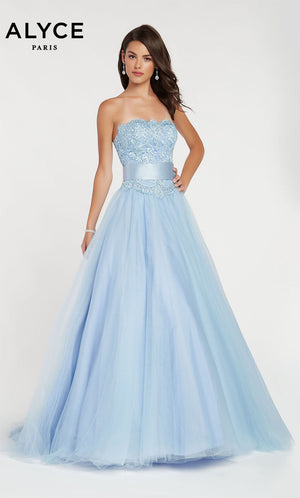 Alyce Paris 60384 prom dress images.  Alyce Paris 60384 is available in these colors: Light Periwinkle,  Diamond White Solid.