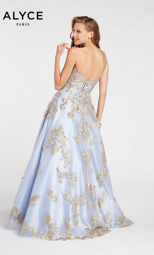Alyce Paris 60396 prom dress images.  Alyce Paris 60396 is available in these colors: Periwinkle Gold.