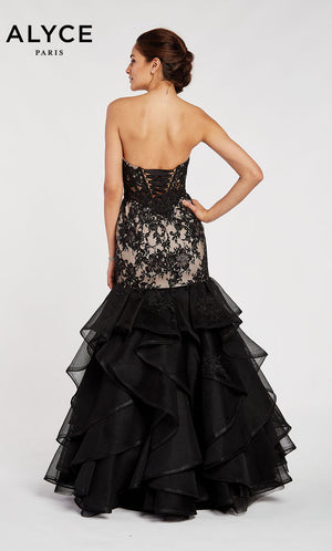 Alyce Paris 60409 prom dress images.  Alyce Paris 60409 is available in these colors: Black Champagne.