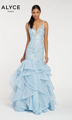 Alyce Paris 60410 prom dress images.  Alyce Paris 60410 is available in these colors: Ice Blue.