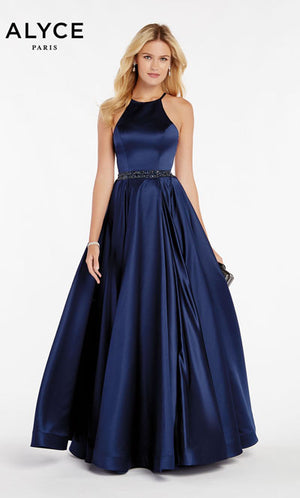 Alyce Paris 60417 prom dress images.  Alyce Paris 60417 is available in these colors: Navy,  Black Cherry,  Red,  Rosegold.