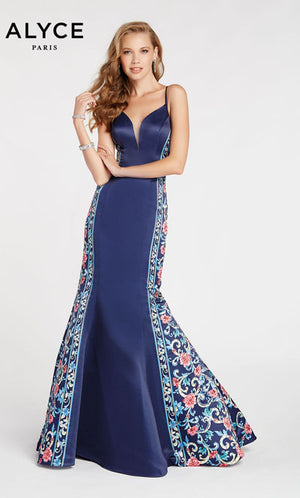 Alyce Paris 60419 prom dress images.  Alyce Paris 60419 is available in these colors: Navy.