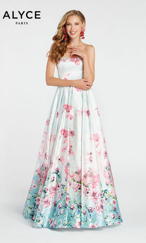 Alyce Paris 60431 prom dress images.  Alyce Paris 60431 is available in these colors: Fuchsia,  Seafoam.