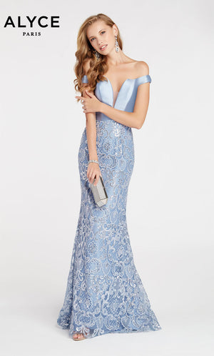 Alyce Paris 60495 prom dress images.  Alyce Paris 60495 is available in these colors: French Blue,  Diamond White,  Emerald.
