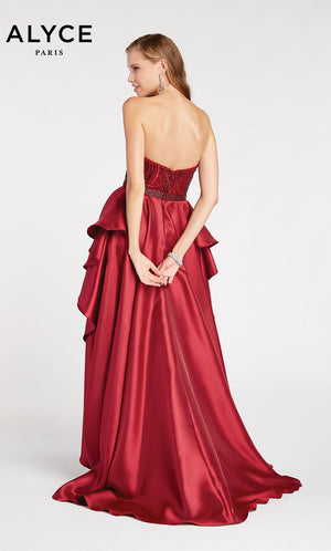 Alyce Paris 60496 prom dress images.  Alyce Paris 60496 is available in these colors: Sapphire,  Wine.