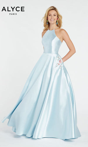 Alyce Paris 60500 prom dress images.  Alyce Paris 60500 is available in these colors: Black,  Shell,  Ice Blue,  Sea Glass.