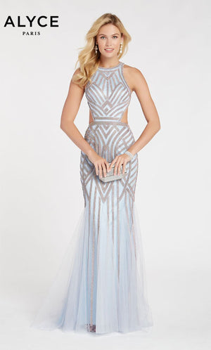 Alyce Paris 60519 prom dress images.  Alyce Paris 60519 is available in these colors: Icelandic Blue,  Cobalight,  Burgundy.