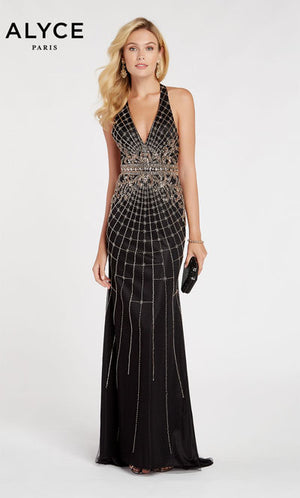 Alyce Paris 60522 prom dress images.  Alyce Paris 60522 is available in these colors: Black Rosegold.