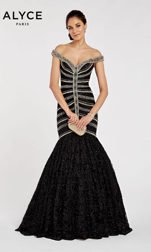 Alyce Paris 60535 prom dress images.  Alyce Paris 60535 is available in these colors: Black Gold.