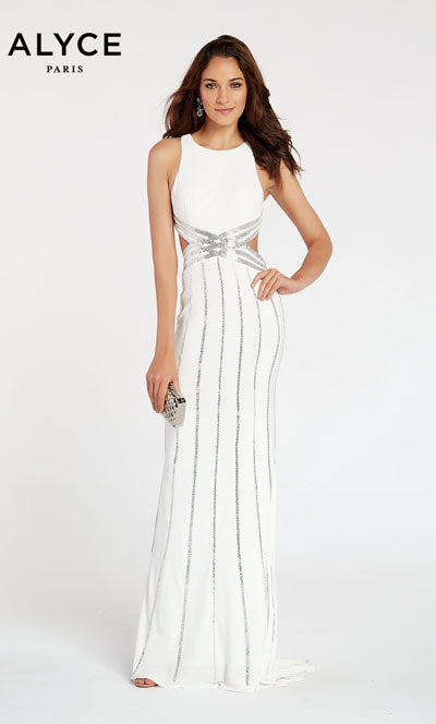 Alyce Paris 60537 prom dress images.  Alyce Paris 60537 is available in these colors: Black,  Diamond White.