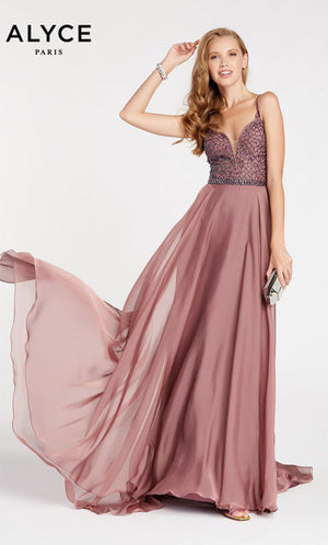 Alyce Paris 60546 prom dress images.  Alyce Paris 60546 is available in these colors: Navy,  Antique Rose,  Gray,  Peridot Green.