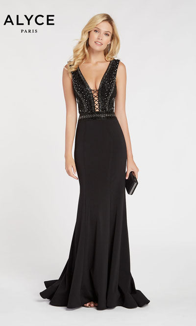 Alyce Paris 60549 prom dress images.  Alyce Paris 60549 is available in these colors: Black.