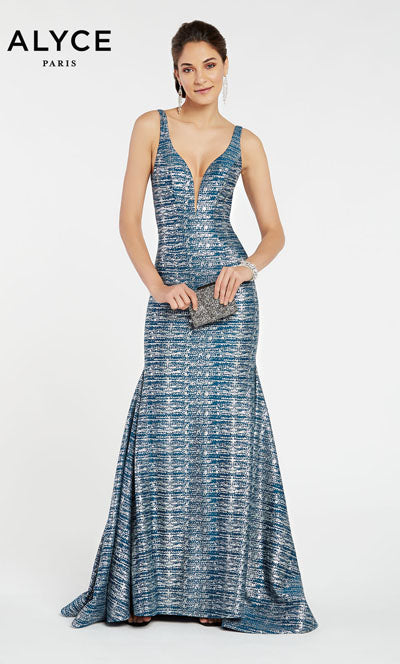 Alyce Paris 60555 prom dress images.  Alyce Paris 60555 is available in these colors: Peacock,  Navy,  Peacock Silver.