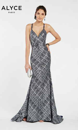 Alyce Paris 60557 prom dress images.  Alyce Paris 60557 is available in these colors: Navy Silver.