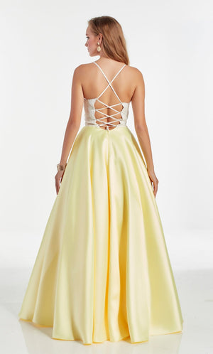 Alyce Paris 60879 prom dress images.  Alyce Paris 60879 is available in these colors: Diamond White Light Yellow,  Diamond White Black.