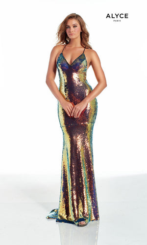 Alyce Paris 60936 prom dress images.  Alyce Paris 60936 is available in these colors: Dragonscale,  Magic Opal.