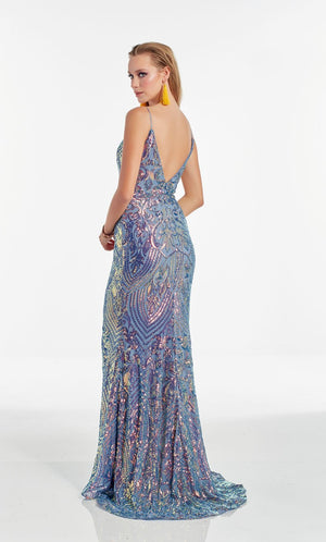 Alyce Paris 60939 prom dress images.  Alyce Paris 60939 is available in these colors: Unicorn,  Magic Opal,  Wine.