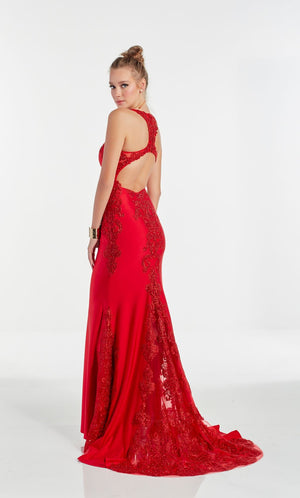 Alyce Paris 60952 prom dress images.  Alyce Paris 60952 is available in these colors: Red,  Midnight,  Pine,  Cashmere Rose.