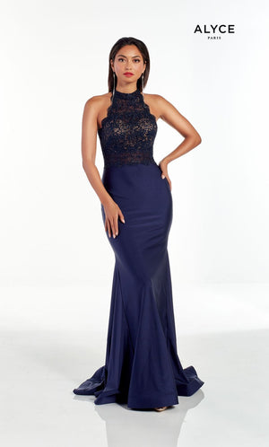 Alyce Paris 60964 prom dress images.  Alyce Paris 60964 is available in these colors: Navy.